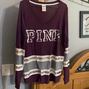 PINK bling baggy fitting long sleeve Top M